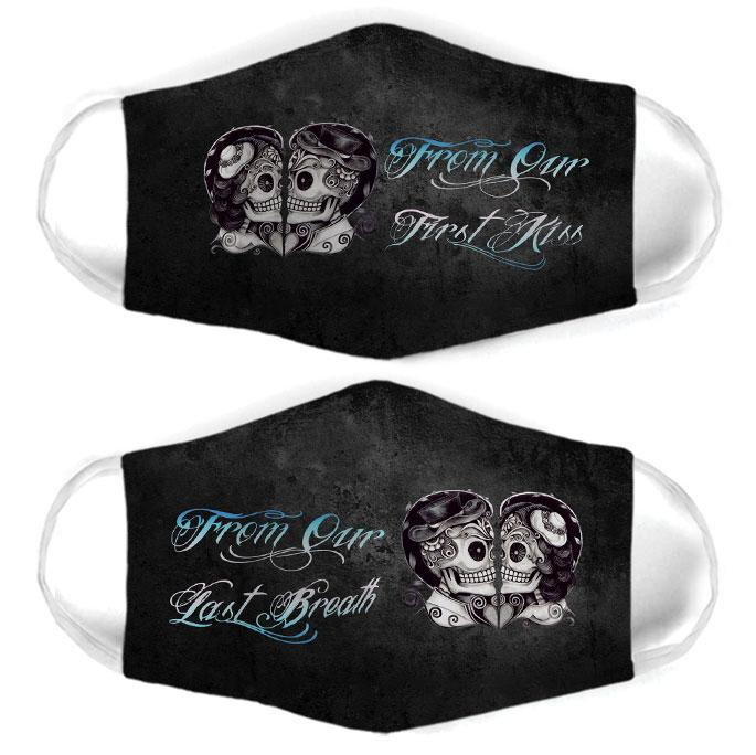 skull couple from our first kiss all over print face mask 3