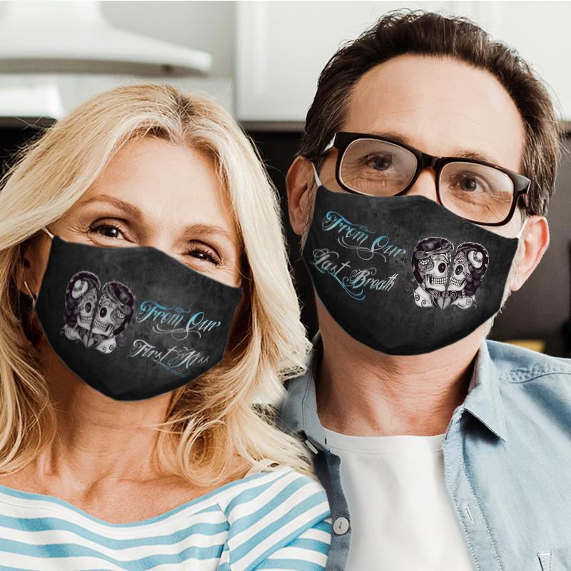 skull couple from our first kiss all over print face mask 5