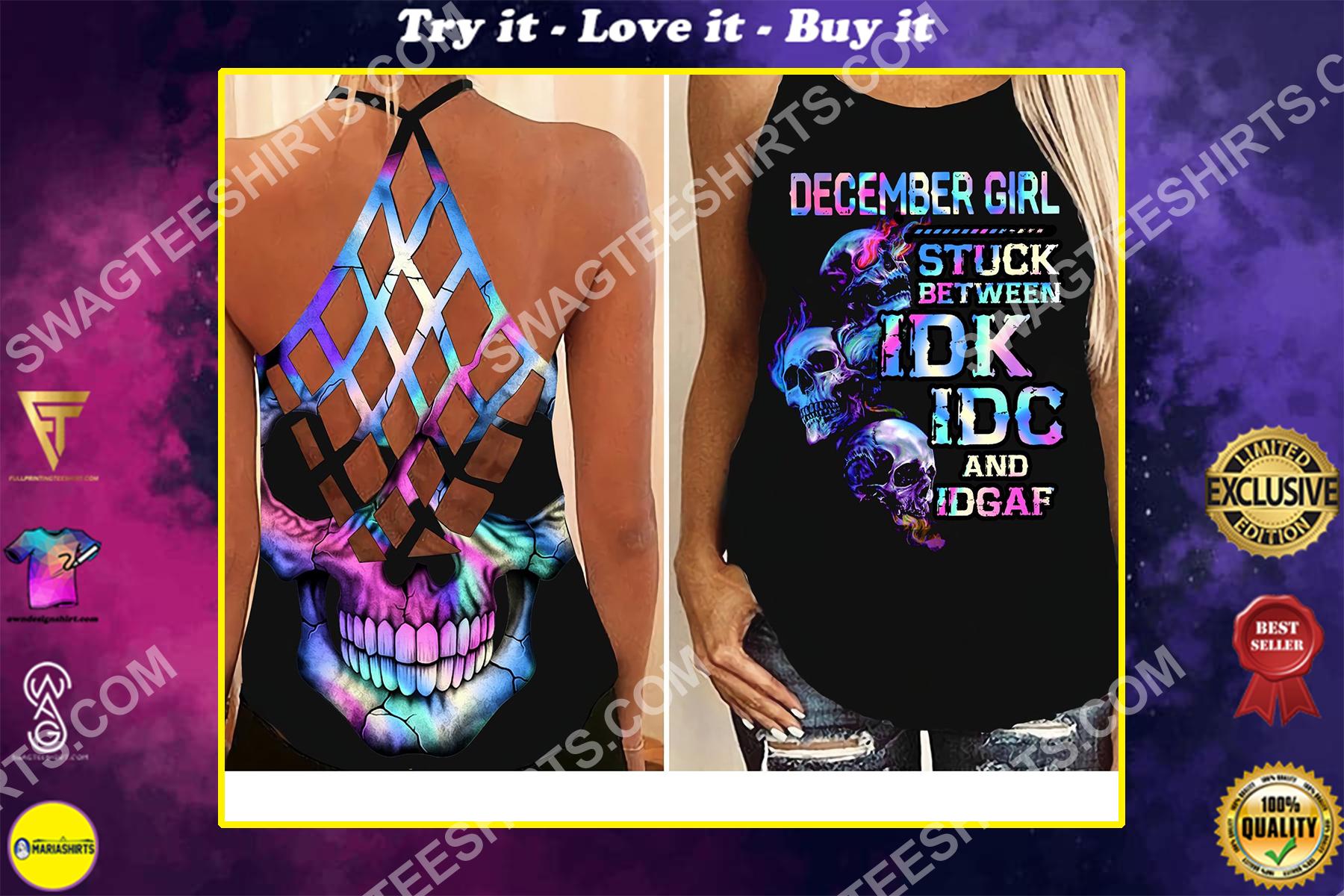 skull december girl birthday gift all over printed strappy back tank top