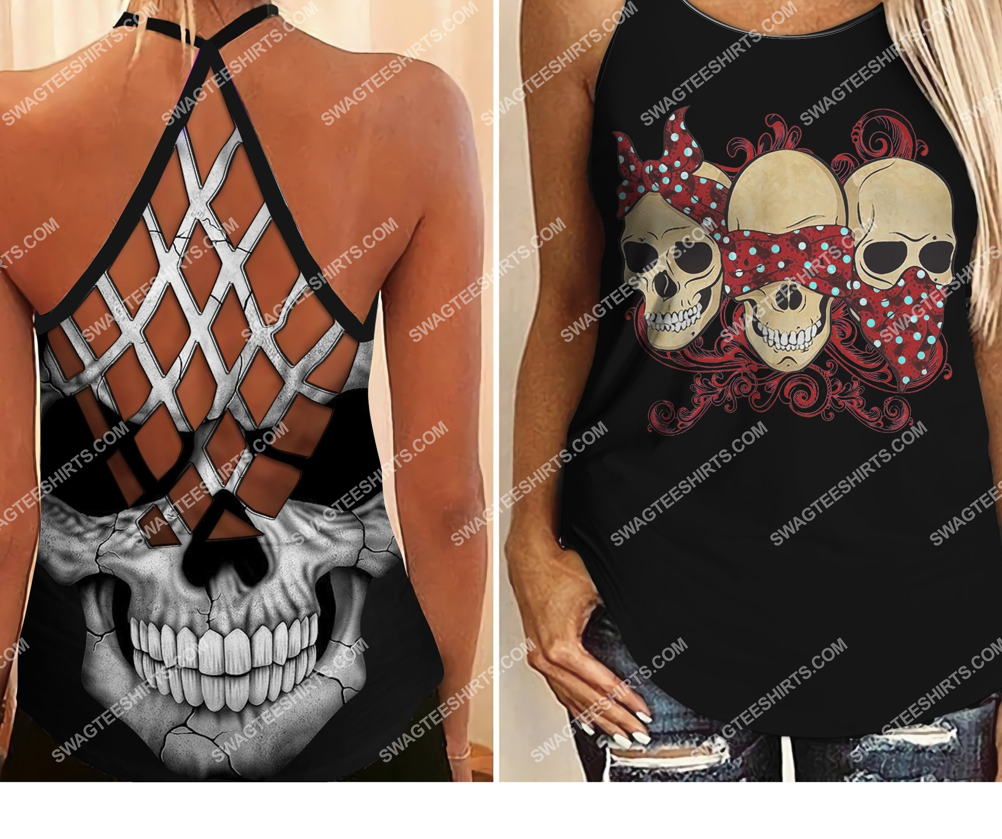 skull evil speak no see no hear no all over printed strappy back tank top 2 - Copy (2)
