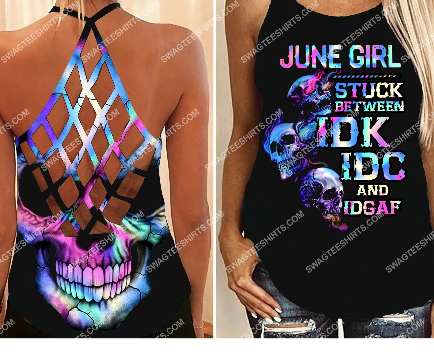 skull june girl birthday gift all over printed strappy back tank top 2 - Copy (2)