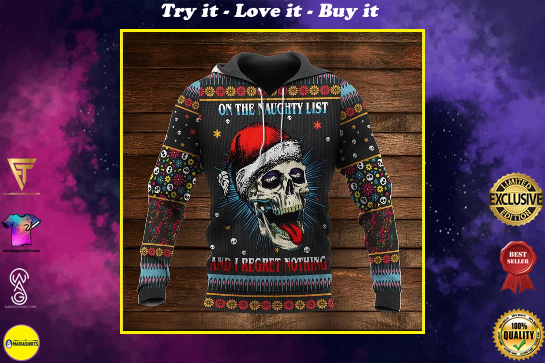 skull on the naughty list and i regret nothing full printing shirt