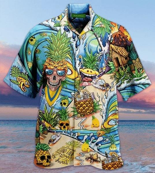 skull pineapple all over printed hawaiian shirt 2