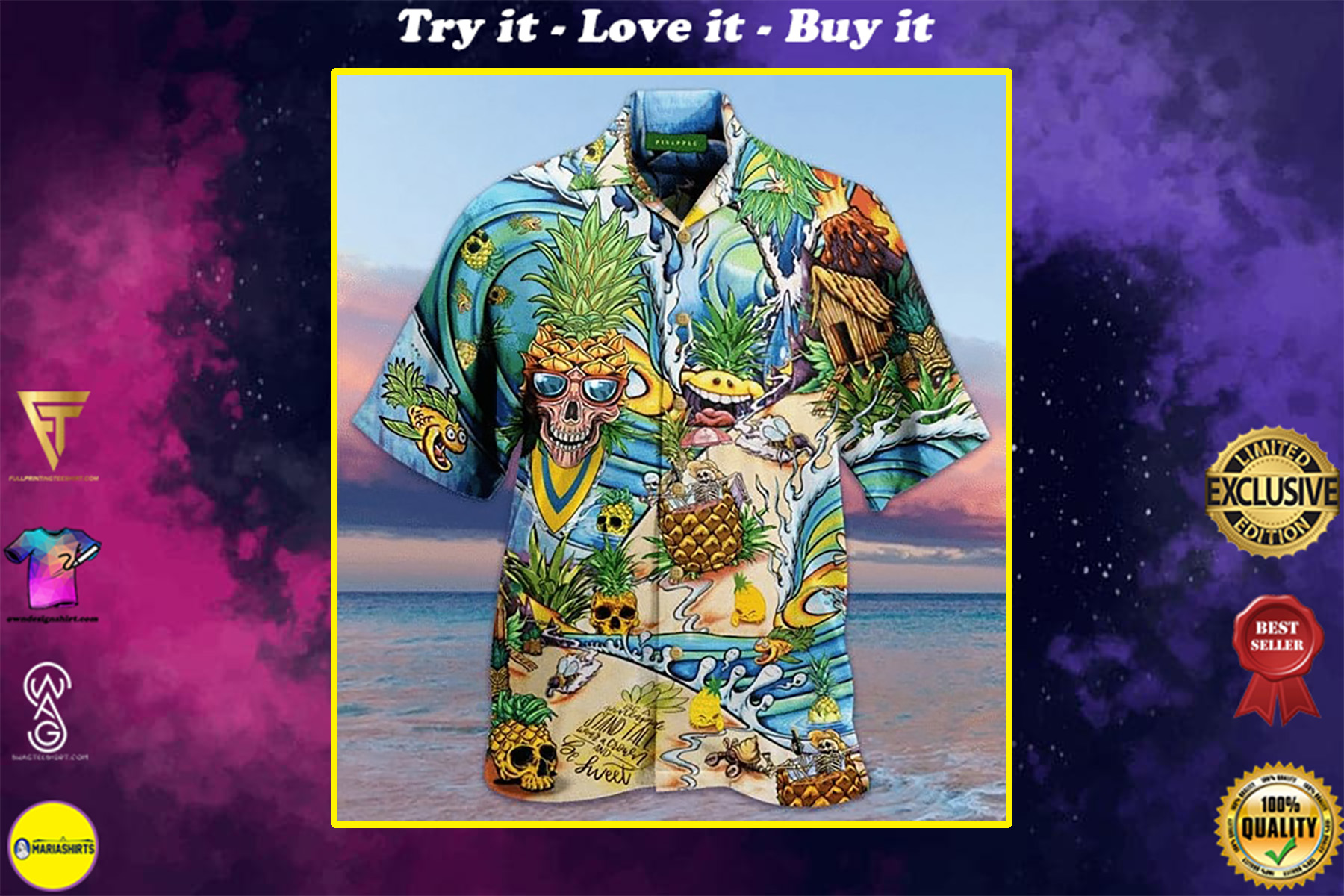 skull pineapple all over printed hawaiian shirt