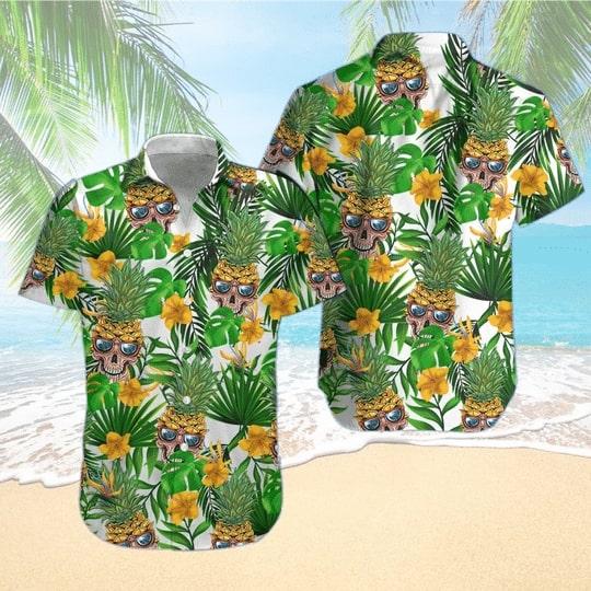 skull pineapple tropical all over printed hawaiian shirt 2