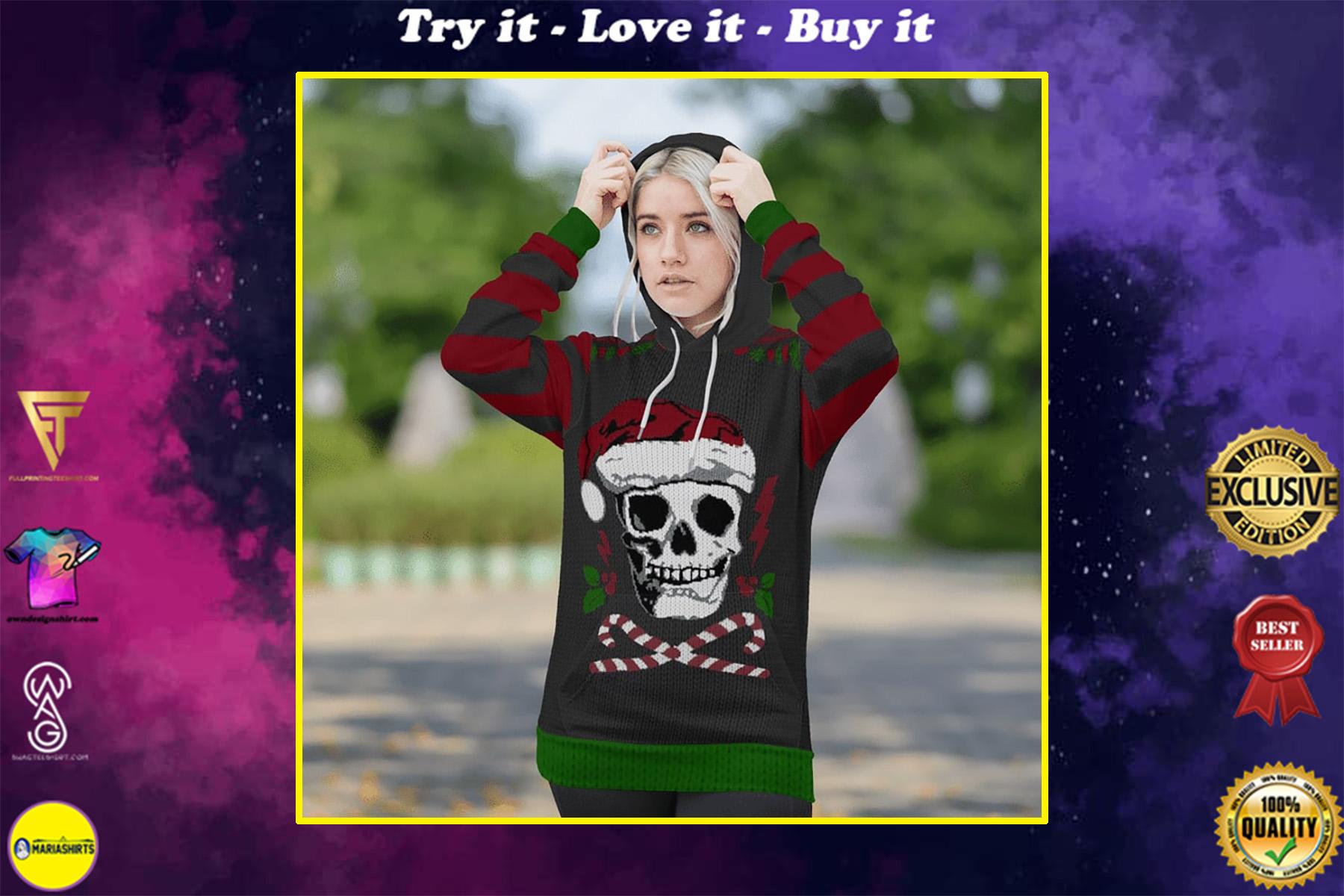 skull santa christmas time full printing shirt