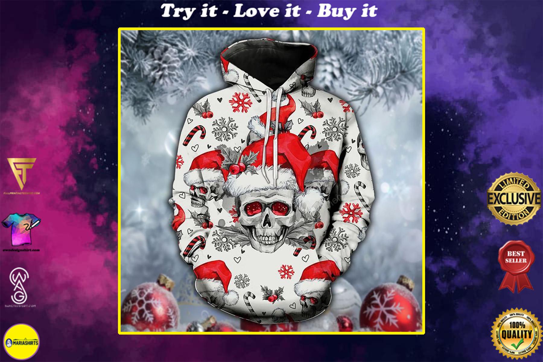 skull santa hat christmas all over printed shirt