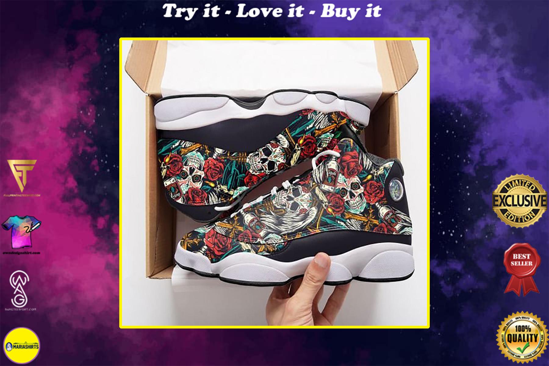 skull tattoo pattern roses all over printed air jordan 13 sneakers