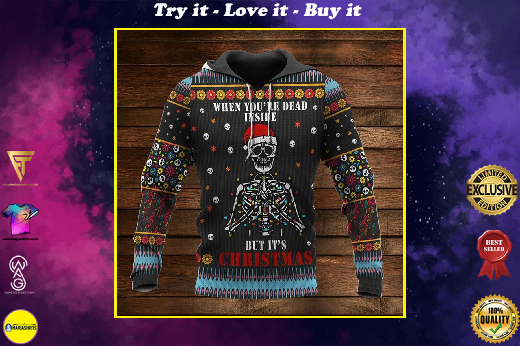 skull when youre dead inside but its christmas full printing shirt
