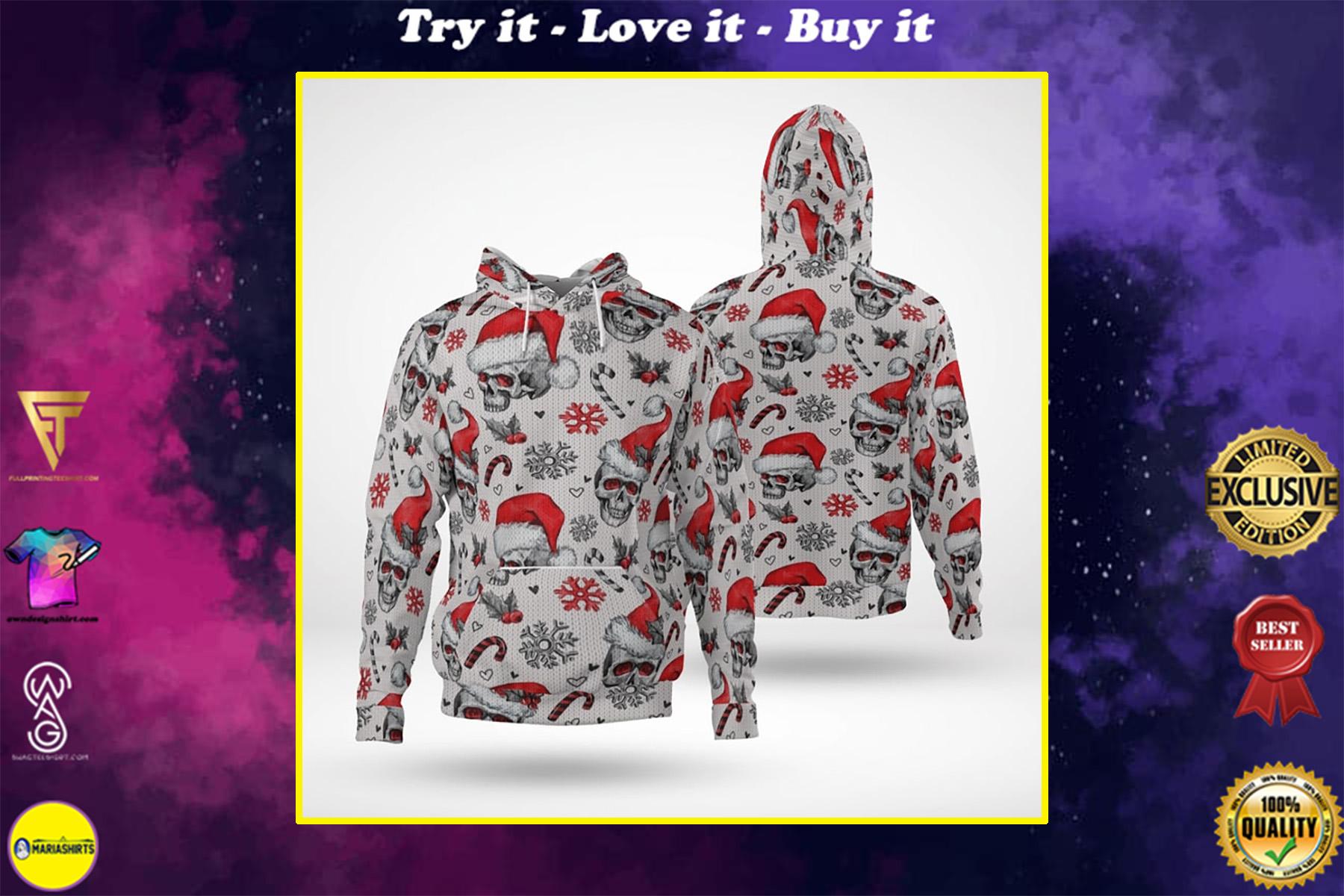 skull with santa hat full printing shirt
