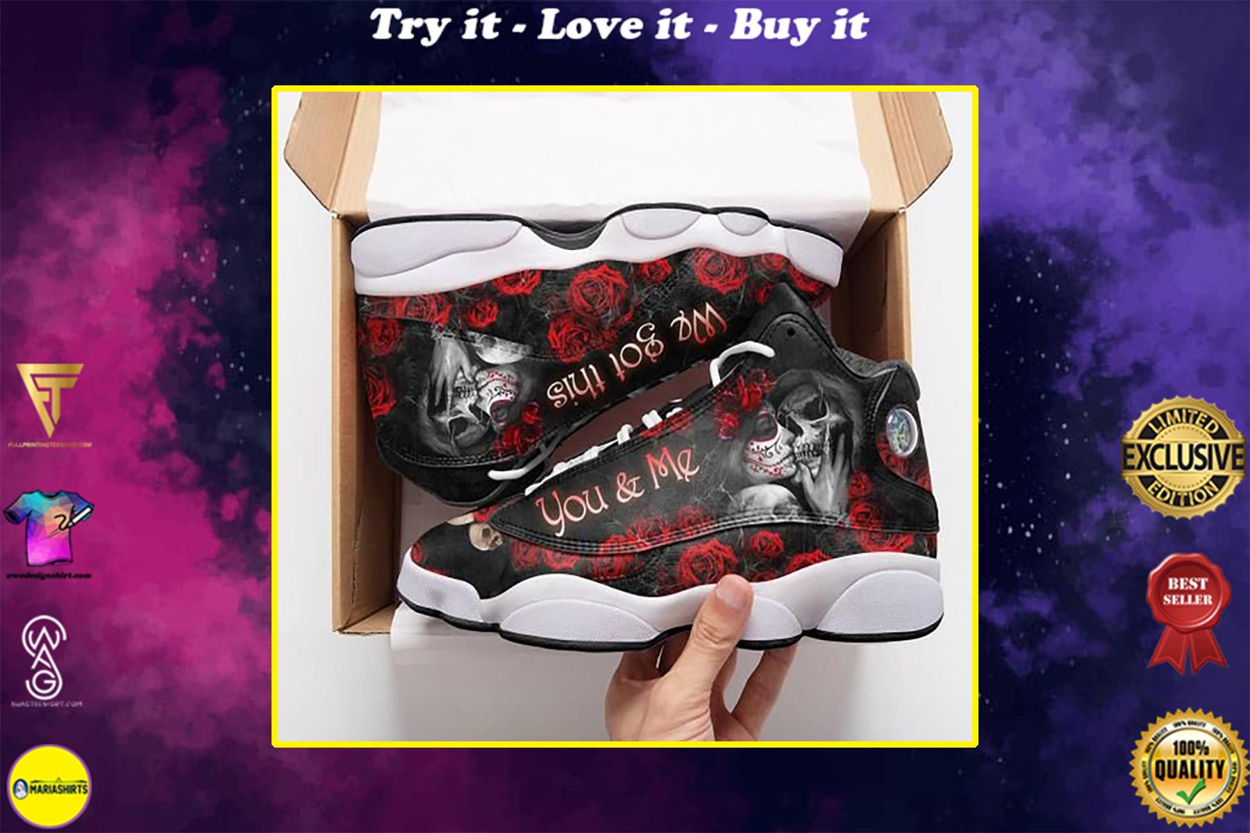 skull you and me we got this all over printed air jordan 13 sneakers