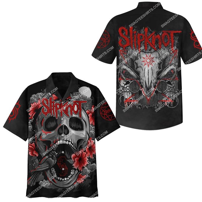 slipknot rock band rose and skull full printing hawaiian shirt 2(1)