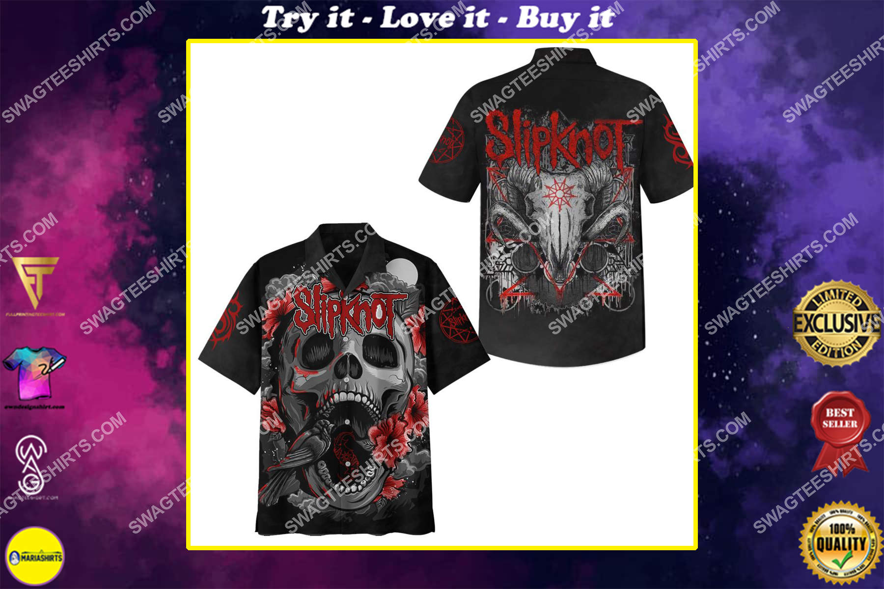slipknot rock band rose and skull full printing hawaiian shirt
