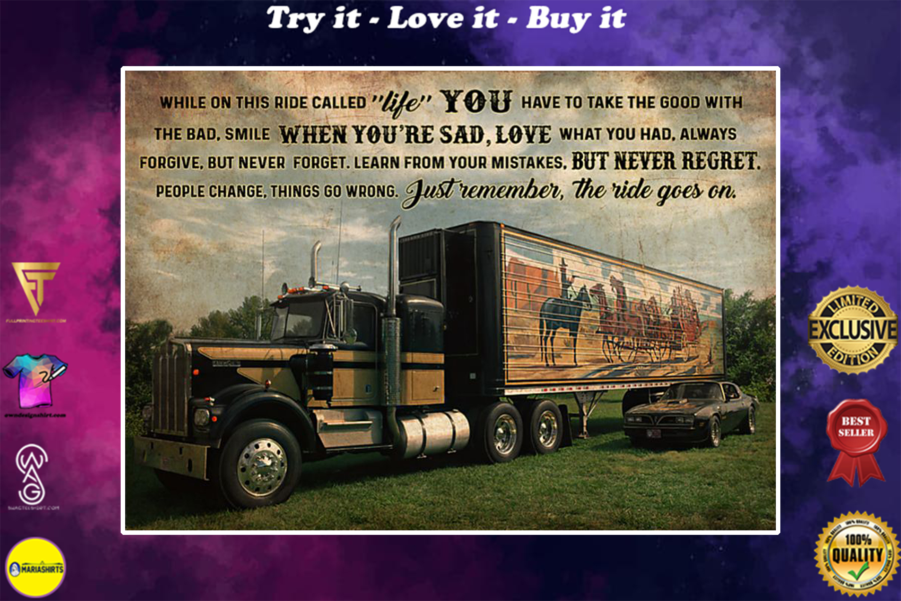 smokey truck while on this ride called life just remember the ride goes on poster