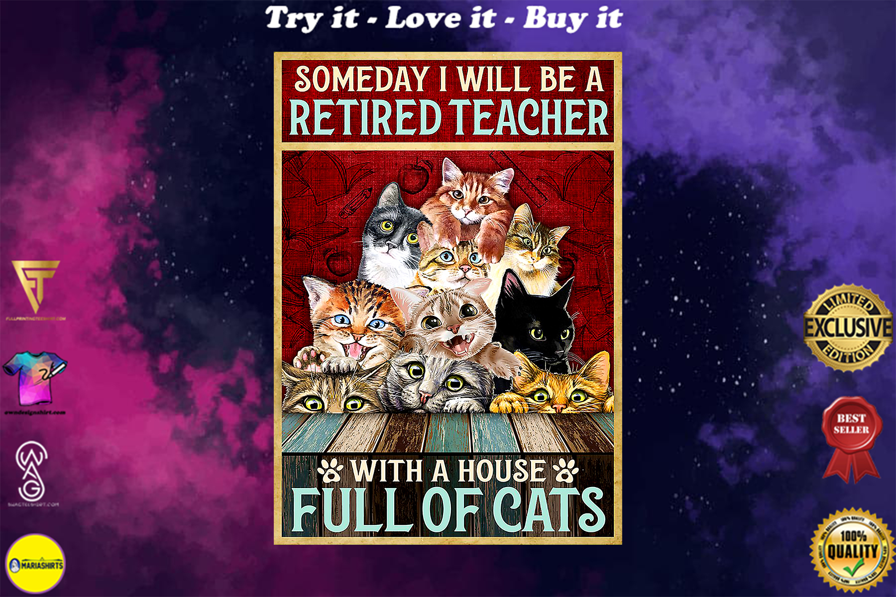 someday i will be a retired teacher with a house full of cats vintage poster