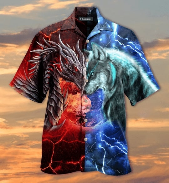 spirit of a dragon heart of a wolf all over printed hawaiian shirt 2