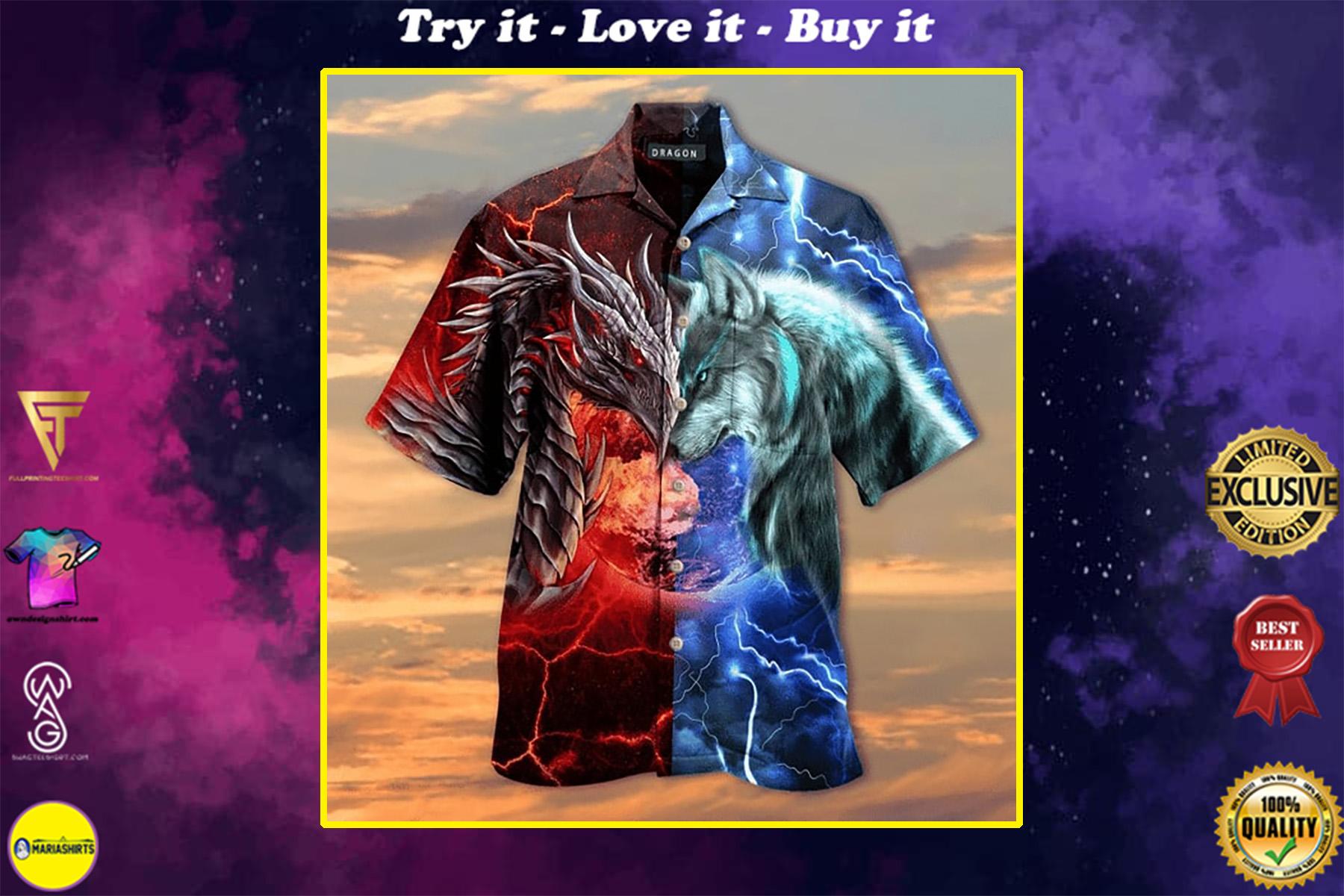 spirit of a dragon heart of a wolf all over printed hawaiian shirt