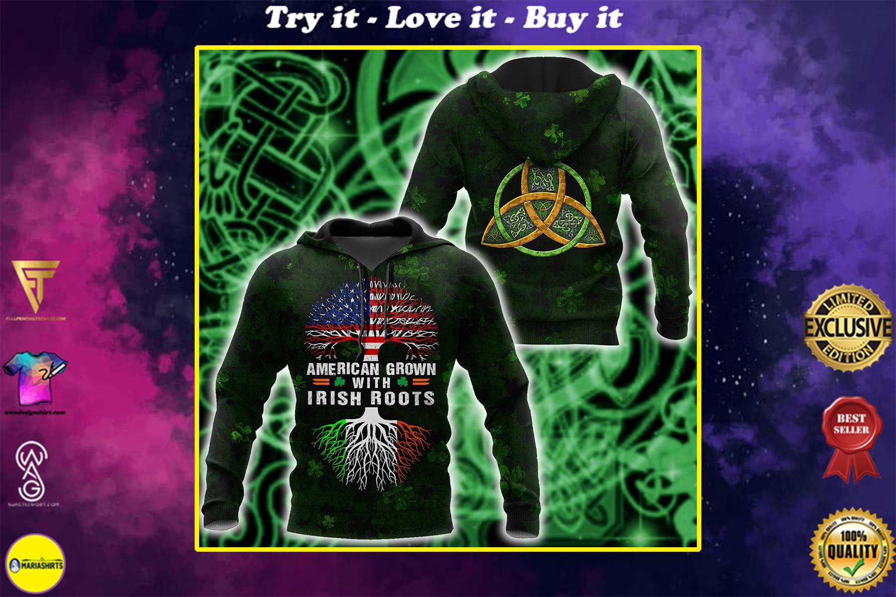 st patricks day american grown with irish roots tree of life full printing shirt