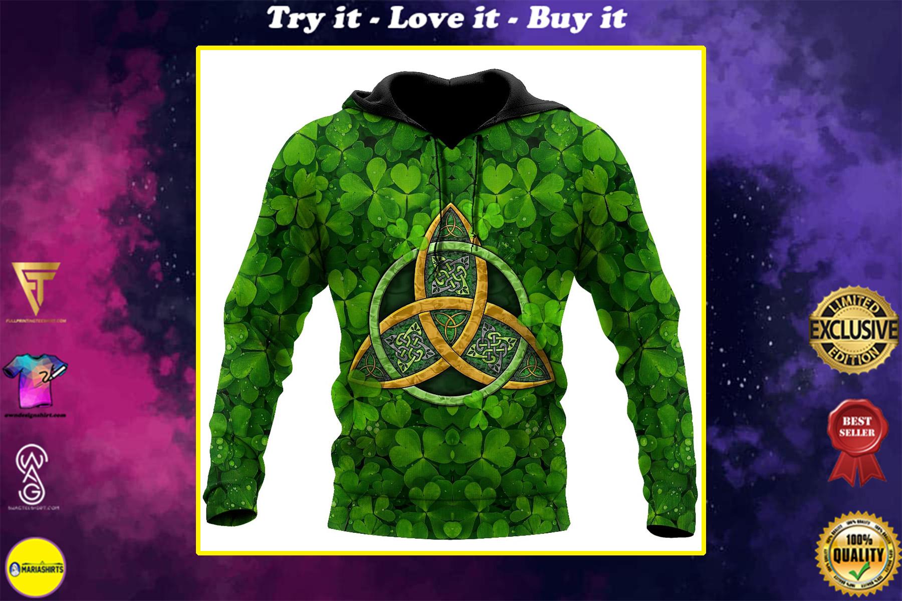 st patricks day the celtic cross shamrock full printing shirt