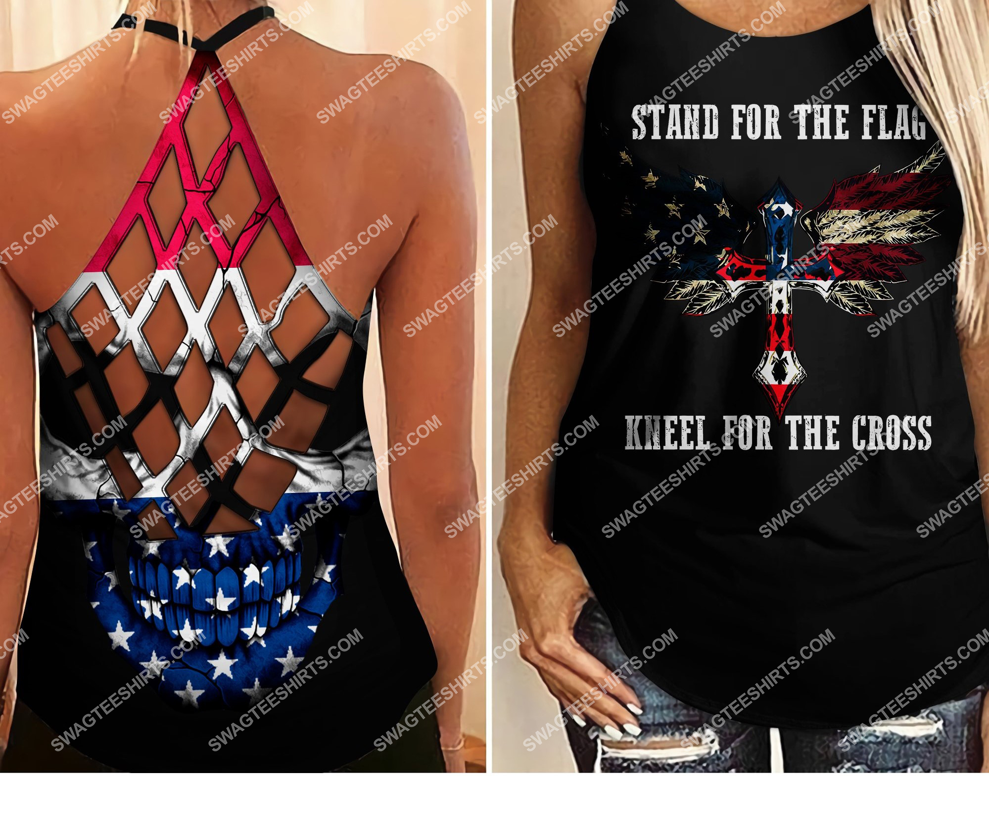 stand for flag kneel for cross all over printed strappy back tank top 2 - Copy (2)