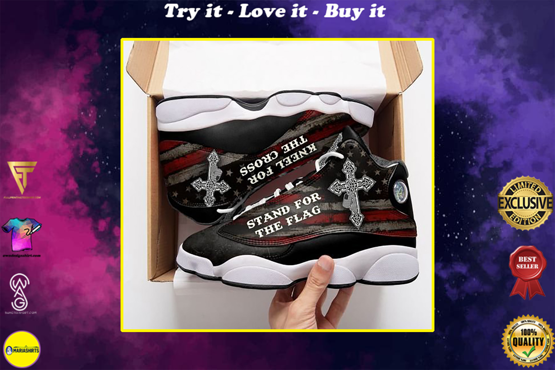 stand for the flag kneel for the cross all over printed air jordan 13 sneakers