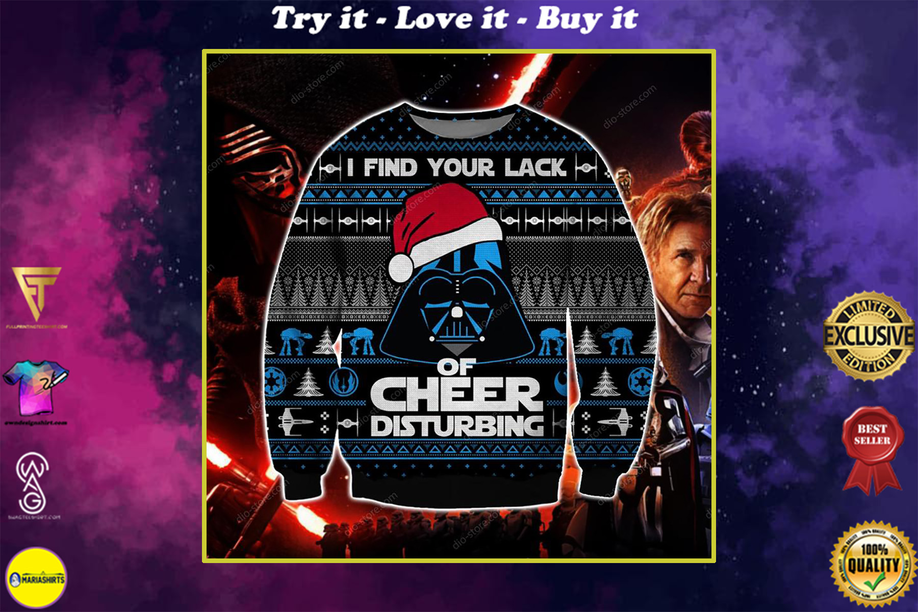 star wars i find your lack of faith disturbing ugly christmas sweater