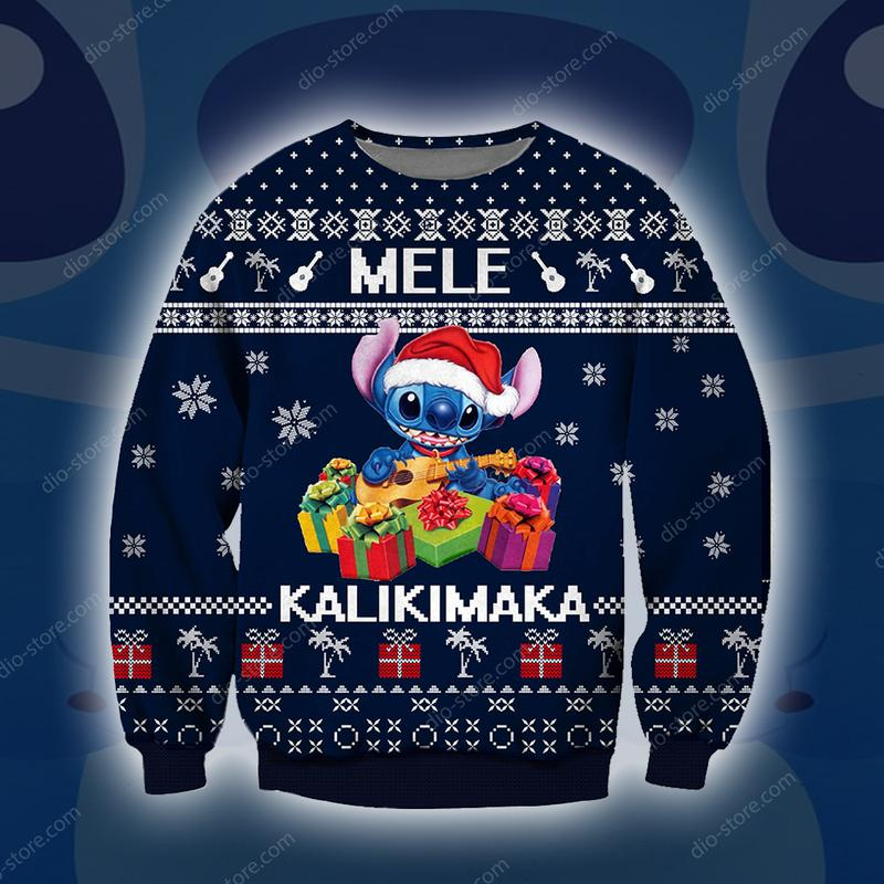 stitch mele kalikimaka all over printed ugly christmas sweater 2