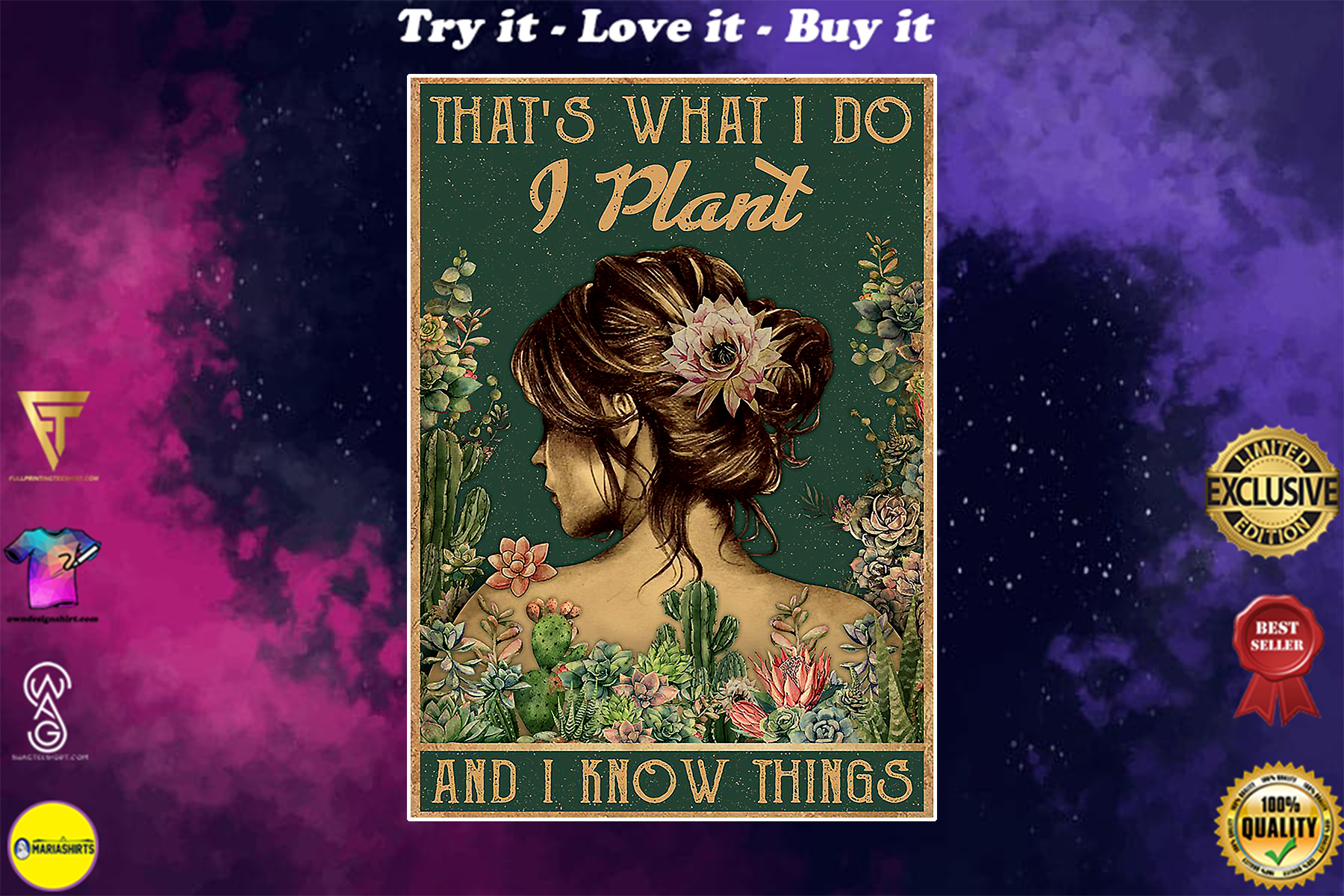 succulent flower thats what i do i plant and i know things poster