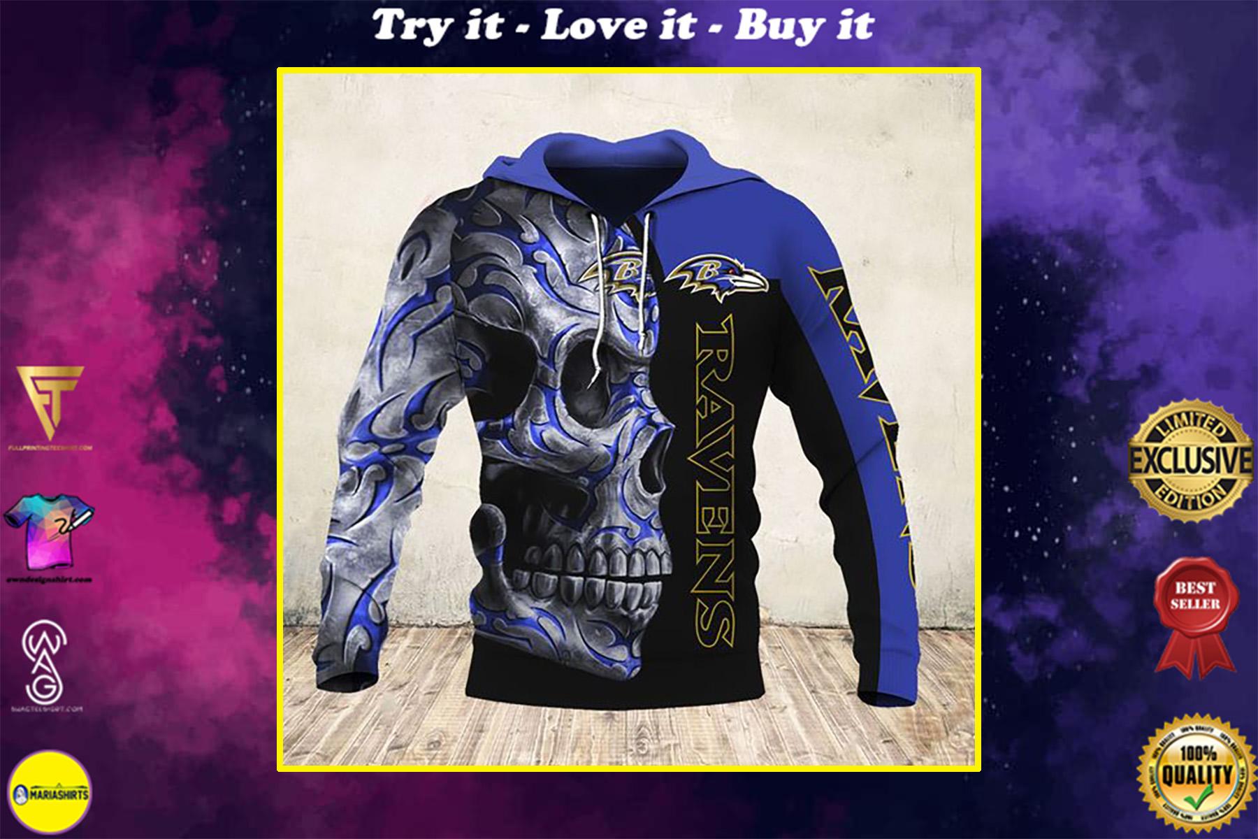 sugar skull and baltimore ravens football team full over printed shirt