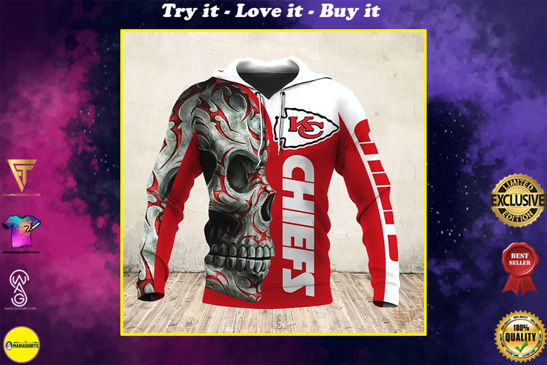 sugar skull and kansas city chiefs football team full over printed shirt