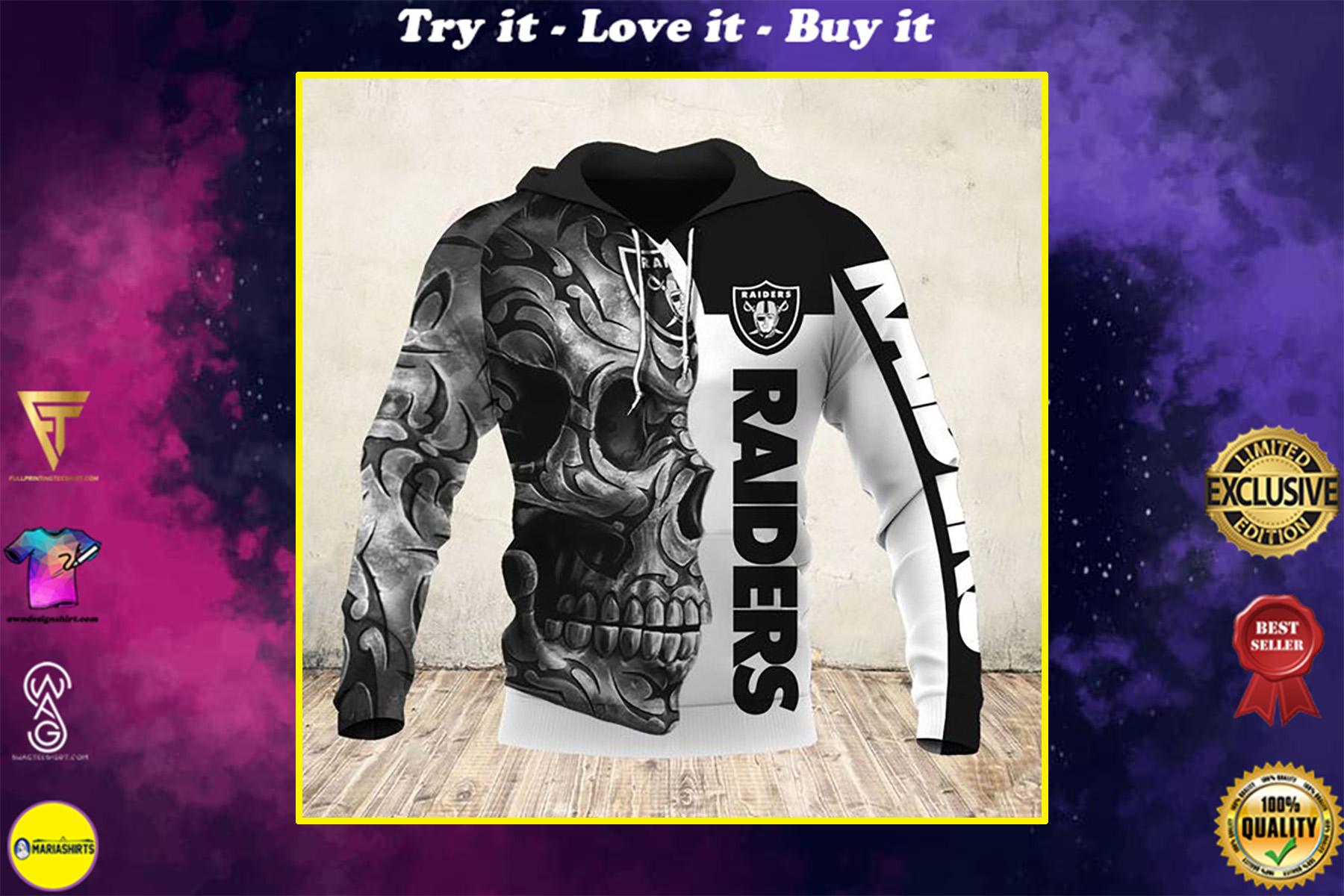 sugar skull and oakland raiders football team full over printed shirt