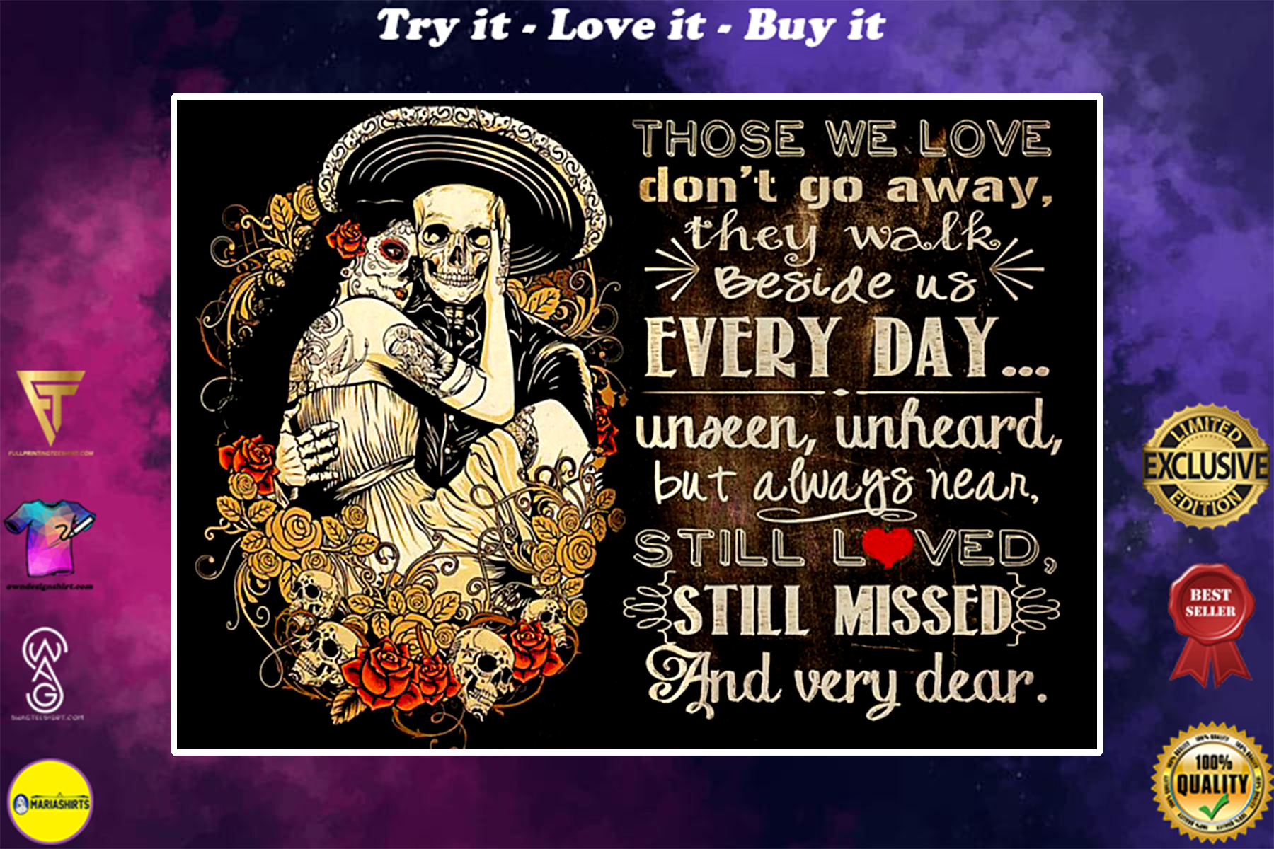 sugar skull couple those we love dont go away they walk beside us everyday poster
