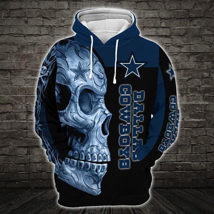 sugar skull dallas cowboys football team full over printed hoodie