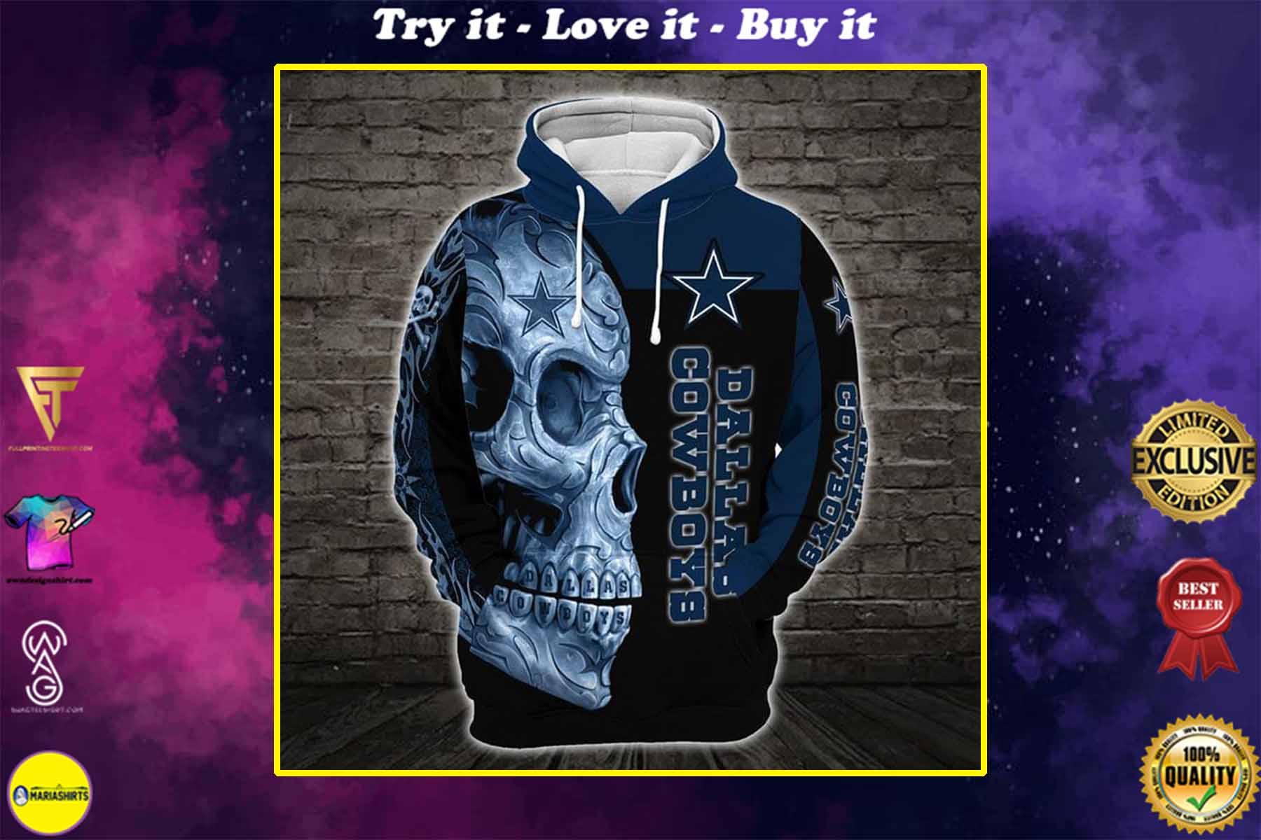 sugar skull dallas cowboys football team full over printed shirt