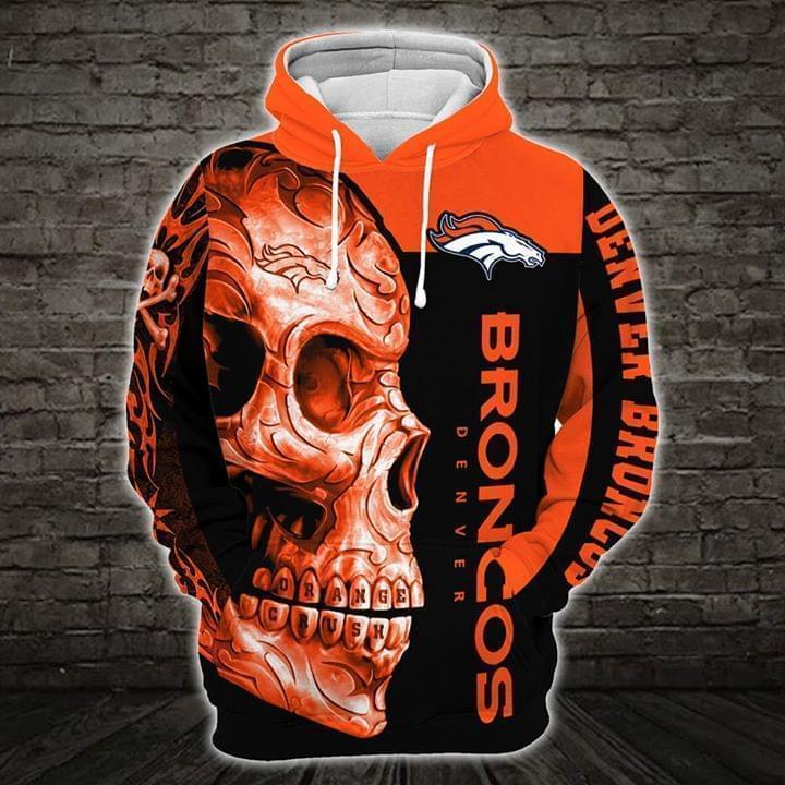 sugar skull denver broncos football team full over printed hoodie