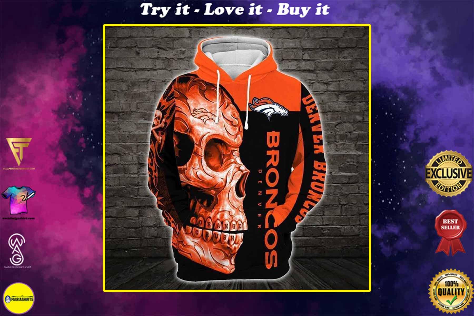 sugar skull denver broncos football team full over printed shirt