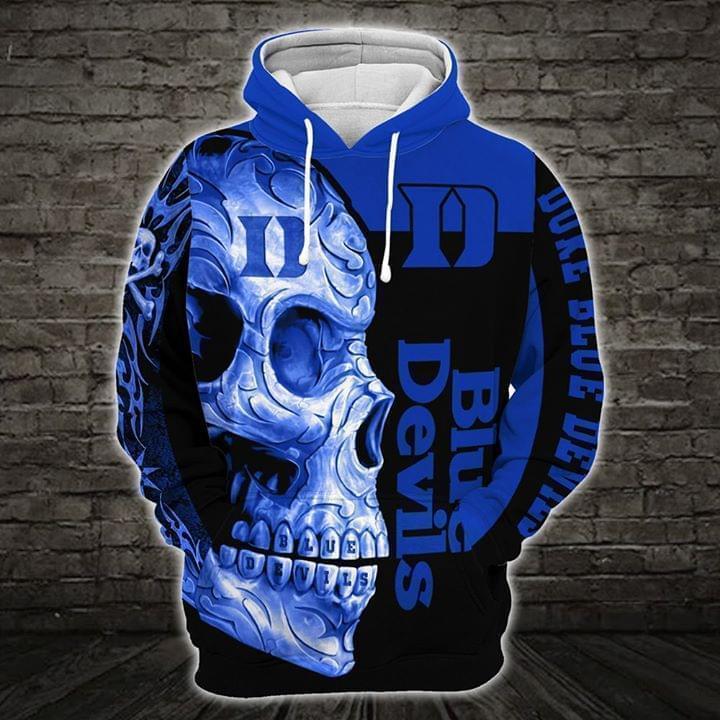 sugar skull duke blue devils mens basketball full over printed hoodie