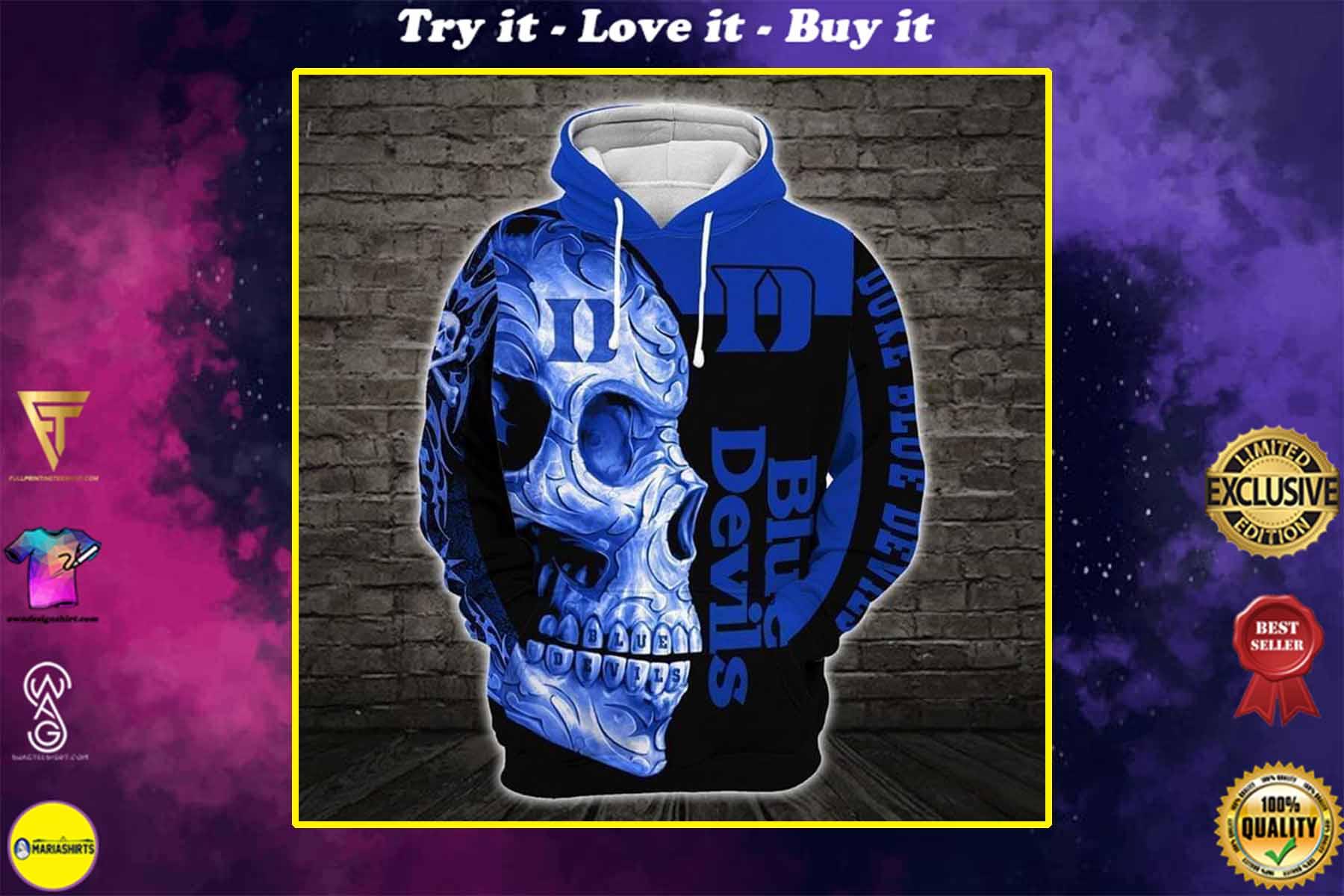 sugar skull duke blue devils mens basketball full over printed shirt