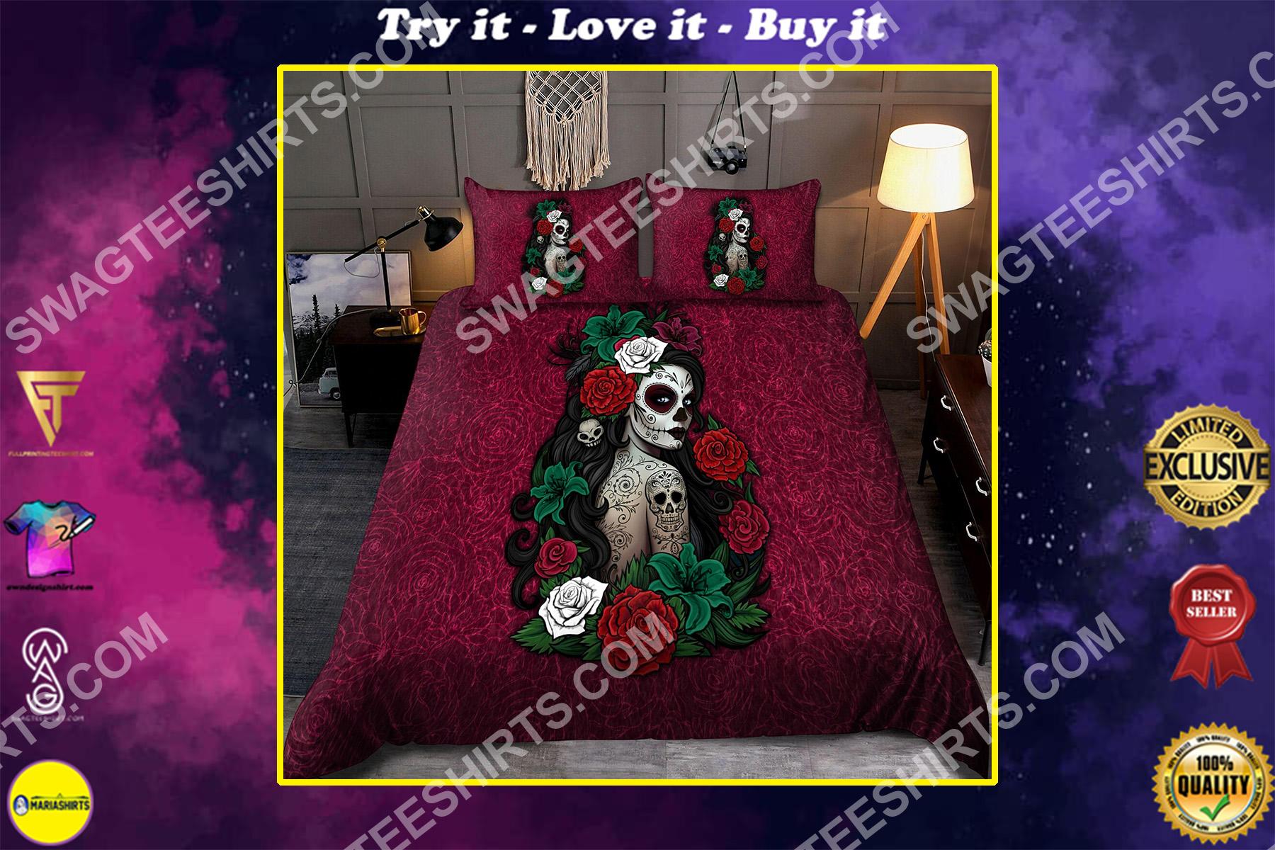 sugar skull girl and flower all over printed bedding set