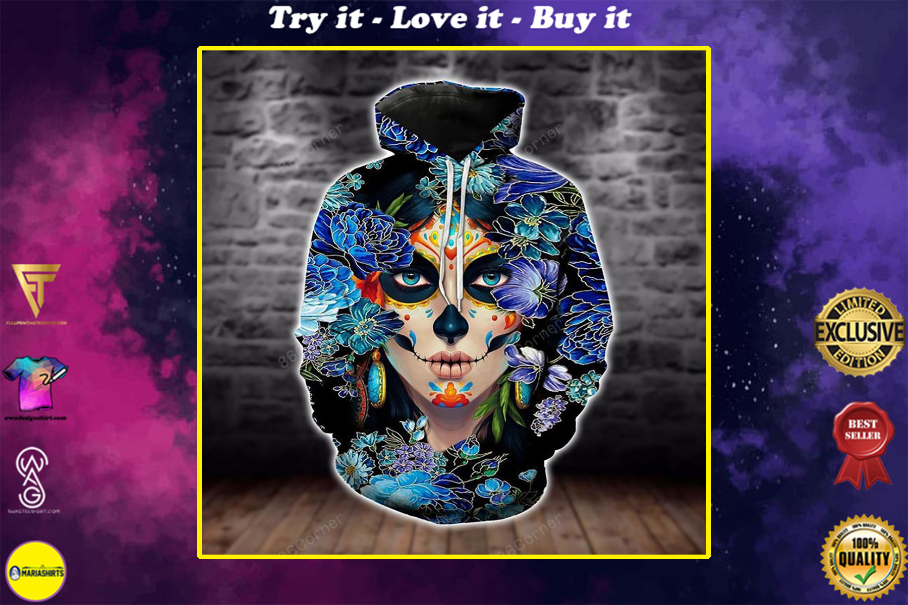 sugar skull girl day of the dead floral all over printed shirt