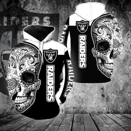 sugar skull oakland raiders football team full over printed shirt 3