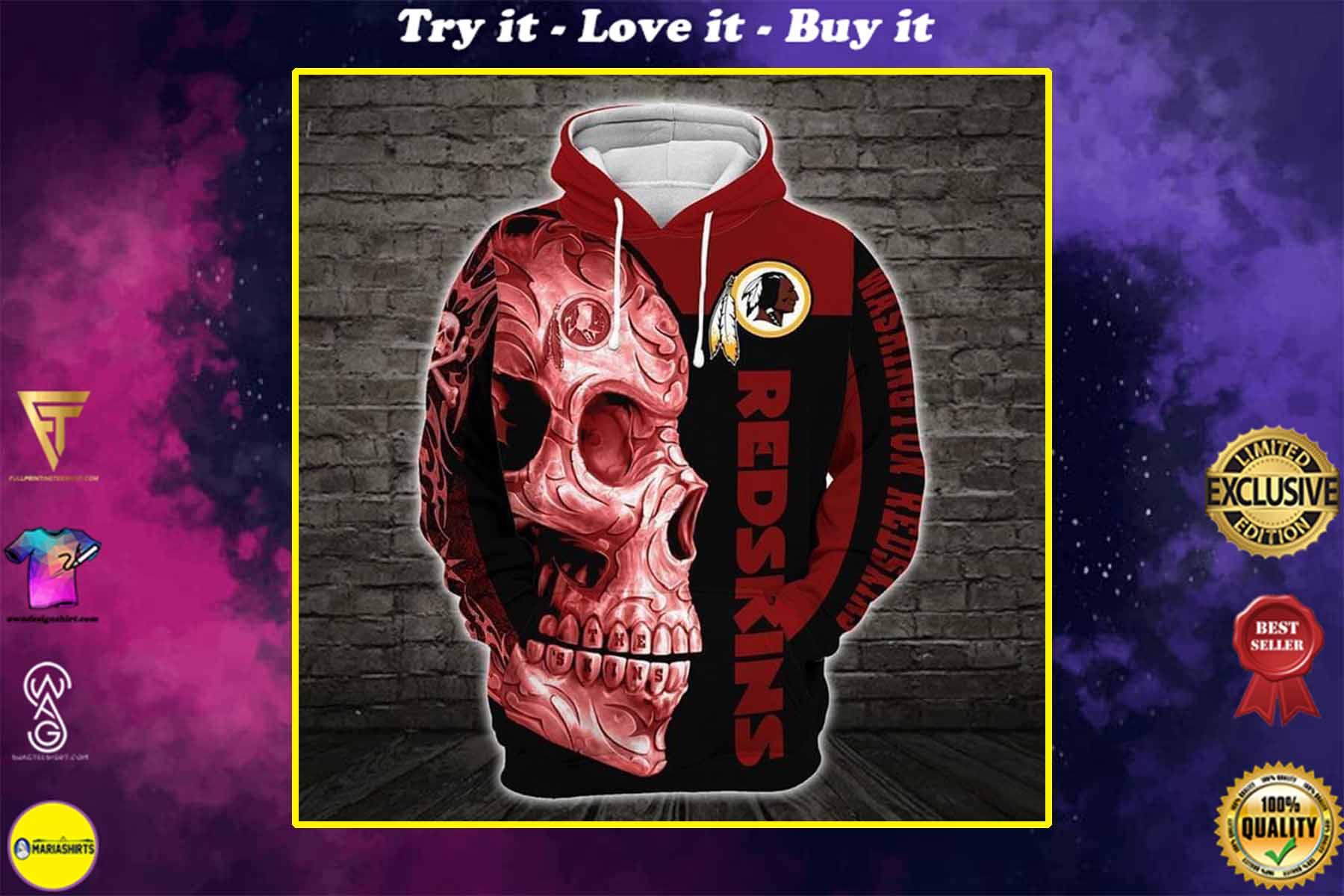 sugar skull washignton redskins football team full over printed shirt