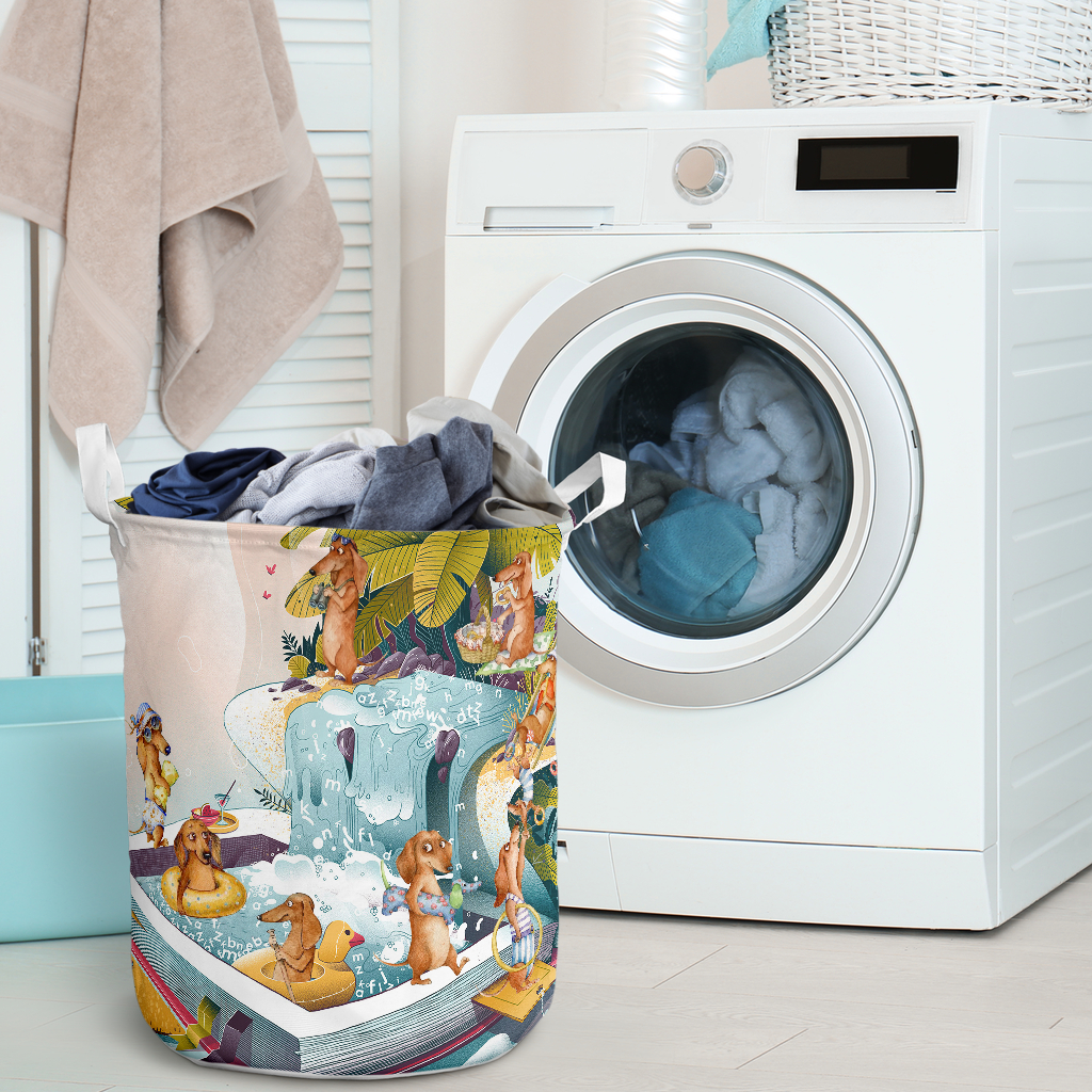 summer dachshund all over printed laundry basket 2
