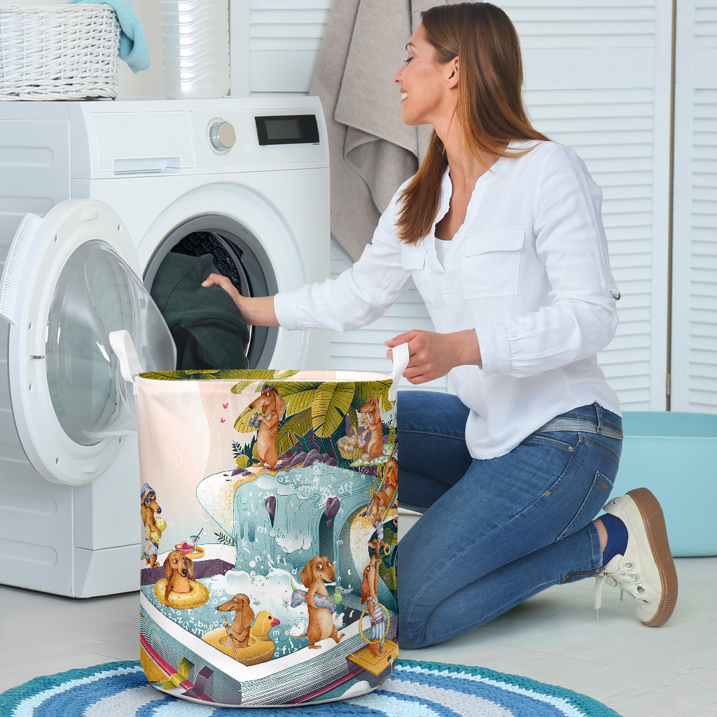 summer dachshund all over printed laundry basket 5
