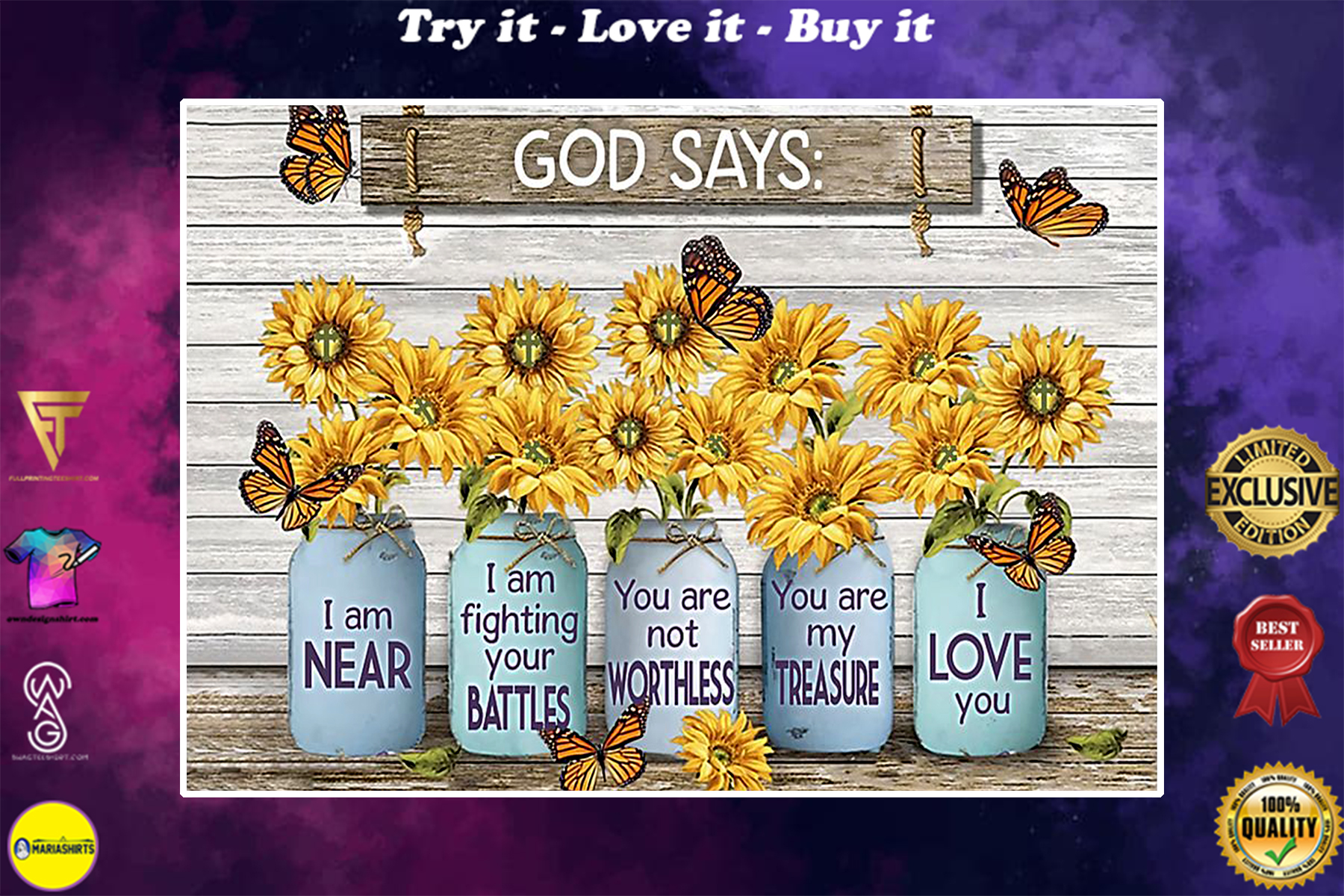 sunflower God says i am near i am fighting your battles you are nor worthless poster