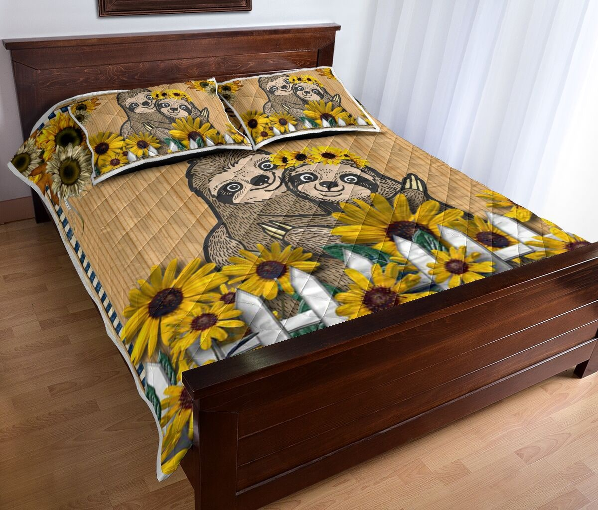 sunflower and sloth always stay humble and kind full printing bedding set 4