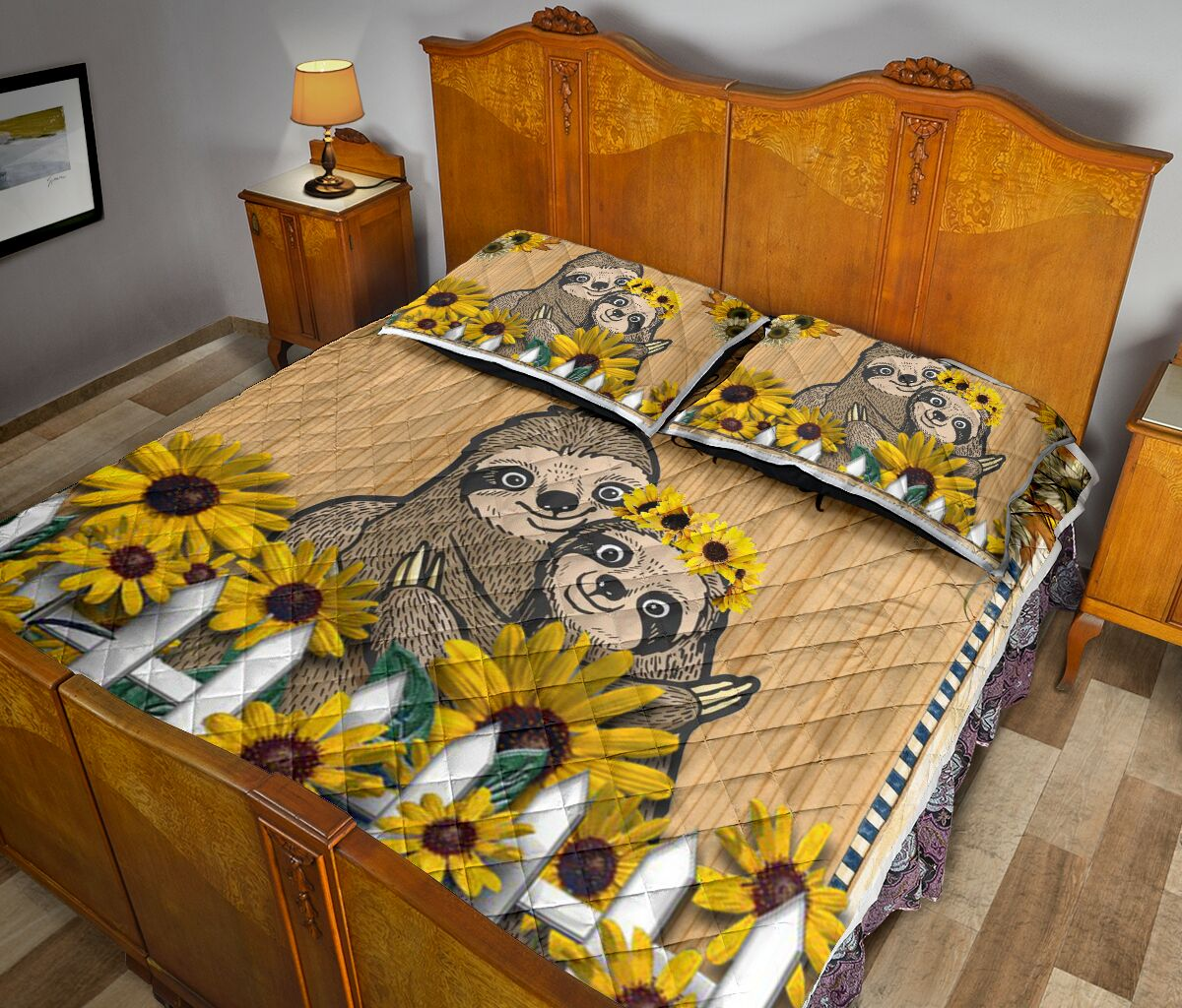 sunflower and sloth always stay humble and kind full printing bedding set 5