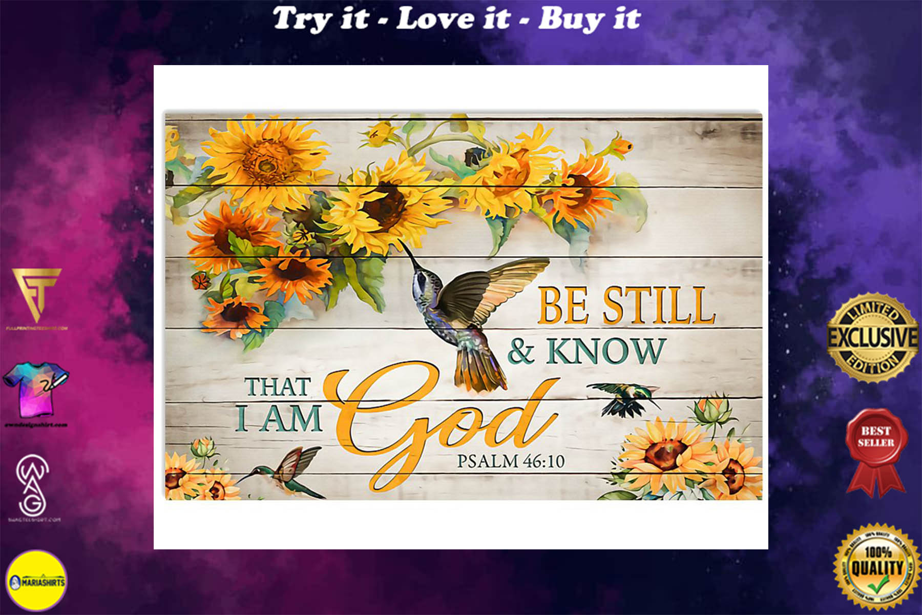 sunflower be still and know that i am God poster