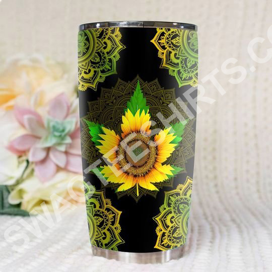 sunflower cannabis all over printed stainless steel tumbler 2(1)