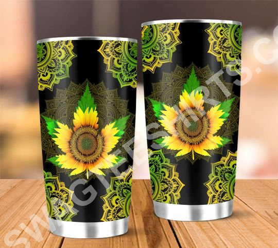 sunflower cannabis all over printed stainless steel tumbler 5(1)
